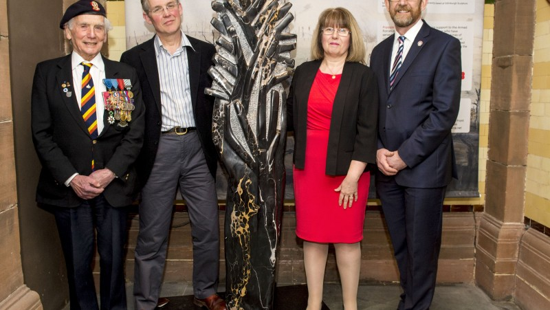 A stunning, symbolic war sculpture entitled France 1914, by artist Simon Burns-Cox, has gone on display at the Peoplea€™s Palace, Glasgow. Glasgow Museums will exhibit the 6-feet-tall Italian marble work across three museums during a three year loan period, in support of Poppyscotland, which provides life-changing support for the Armed Forces community.
